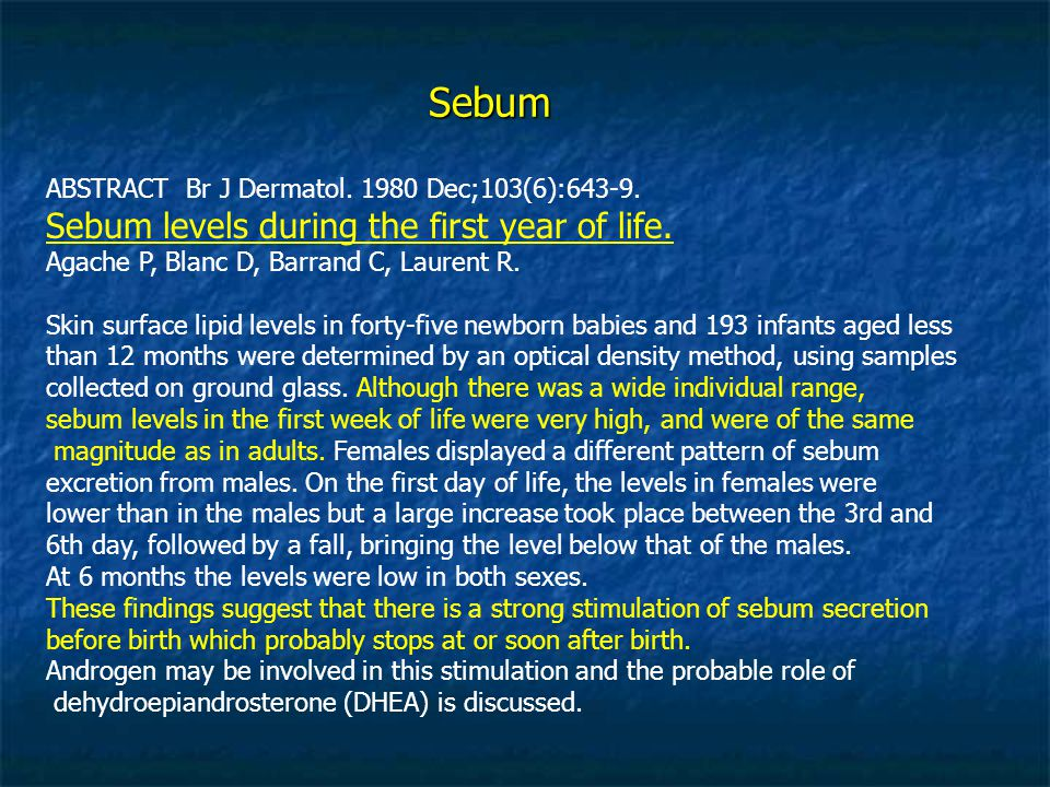 Sebum ABSTRACT Br J Dermatol Dec;103(6):