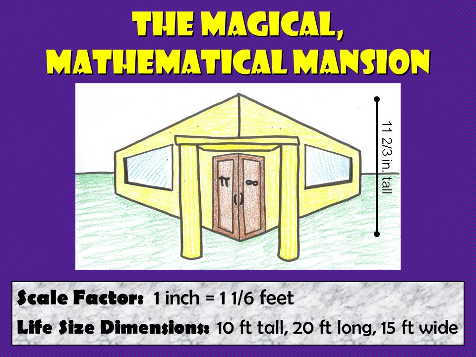 The Magical, Mathematical Mansion Scale Factor: 1 inch = 1 1/6 feet Life Size Dimensions: 10 ft tall, 20 ft long, 15 ft wide 11 2/3 in.