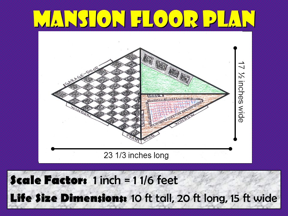 Mansion Floor Plan Scale Factor: 1 inch = 1 1/6 feet Life Size Dimensions: 10 ft tall, 20 ft long, 15 ft wide 23 1/3 inches long 17 ½ inches wide