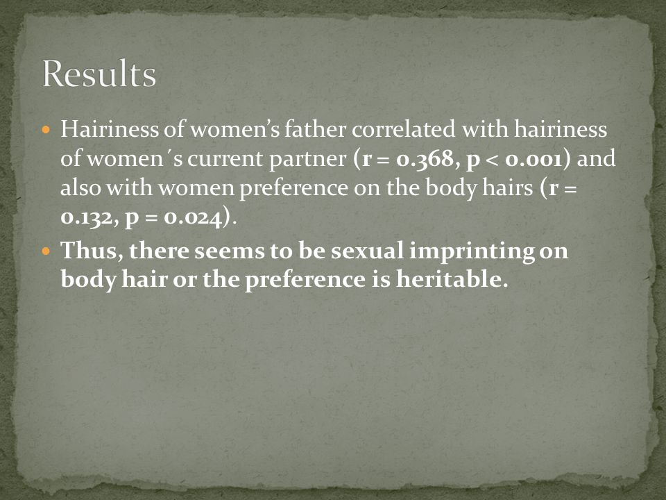 Hairiness of womens father correlated with hairiness of women´s current partner (r = 0.368, p < 0.001) and also with women preference on the body hairs (r = 0.132, p = 0.024).