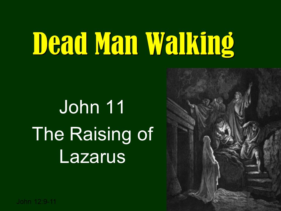 Dead Man Walking John 11 The Raising of Lazarus John 12:9-11