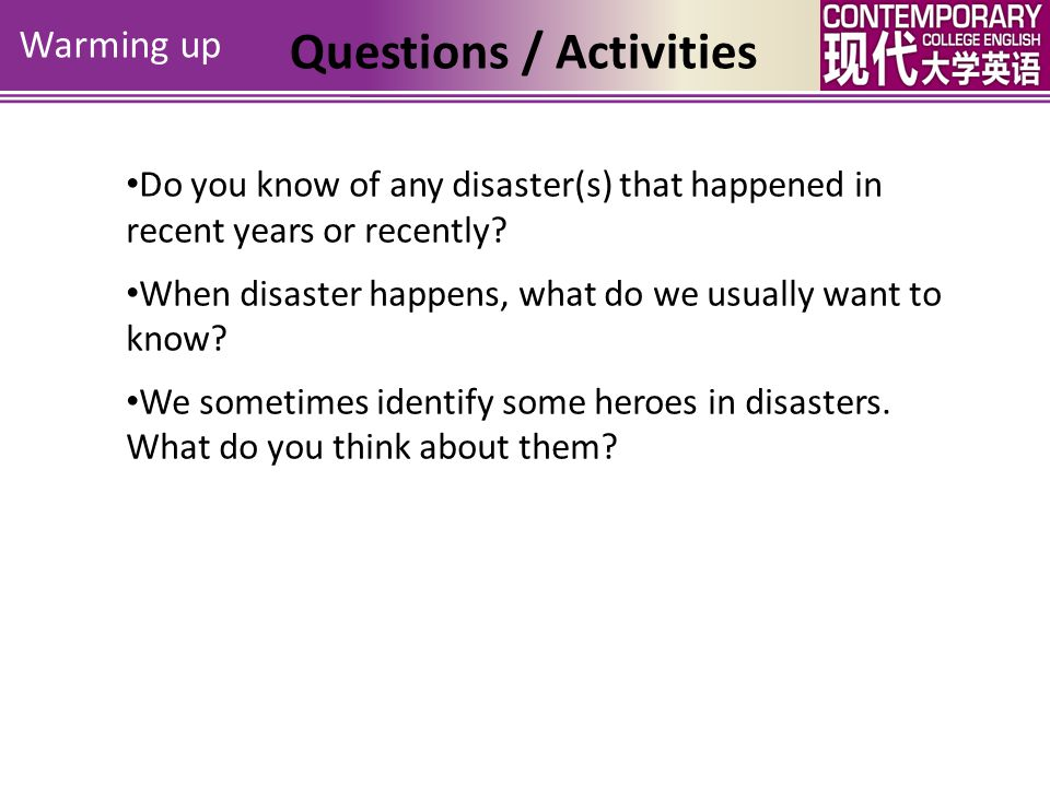 Questions / Activities Check-on Preview Objectives Warming up The Man in the Water Unit 4