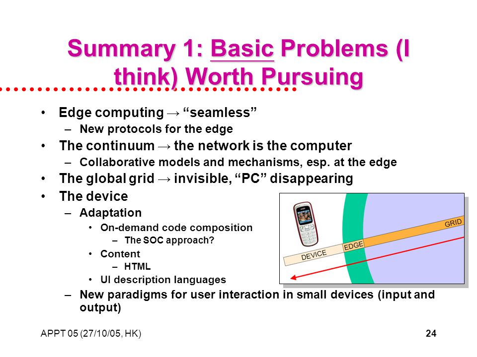APPT 05 (27/10/05, HK)24 Summary 1: Basic Problems (I think) Worth Pursuing Edge computing seamless –New protocols for the edge The continuum the network is the computer –Collaborative models and mechanisms, esp.