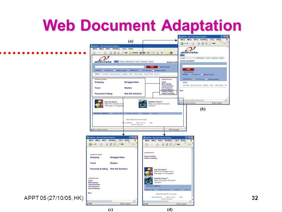 APPT 05 (27/10/05, HK)32 Web Document Adaptation