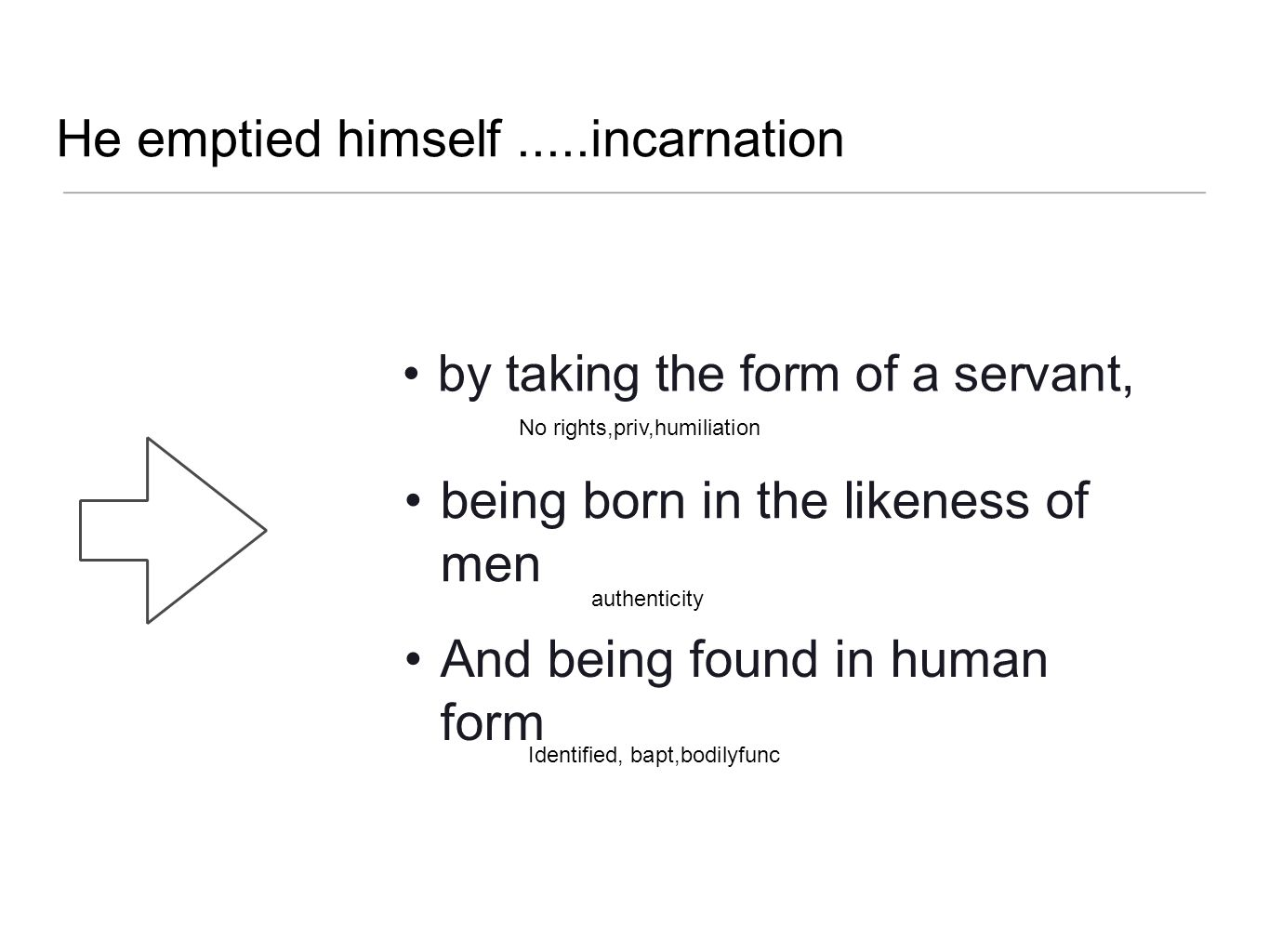 He emptied himself.....incarnation by taking the form of a servant, being born in the likeness of men And being found in human form authenticity No ri