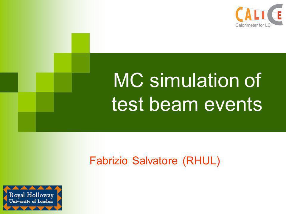 MC simulation of test beam events Fabrizio Salvatore (RHUL)