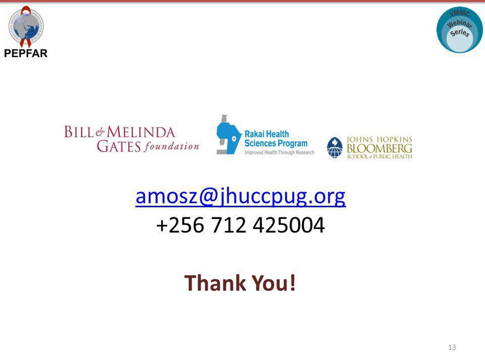 amosz@jhuccpug.org +256 712 425004 Thank You! 13