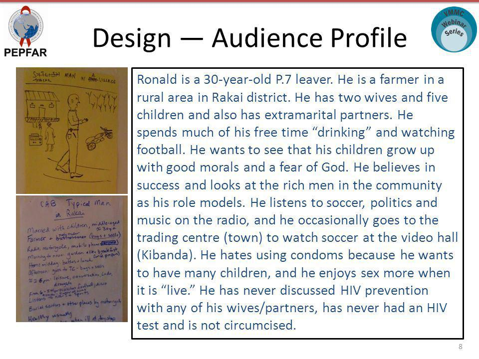Design Audience Profile Ronald is a 30-year-old P.7 leaver.