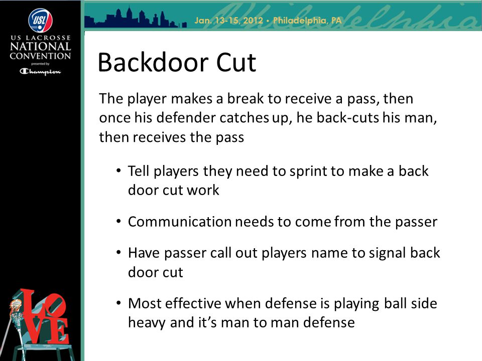 Backdoor Cut Tell players they need to sprint to make a back door cut work Communication needs to come from the passer Have passer call out players na