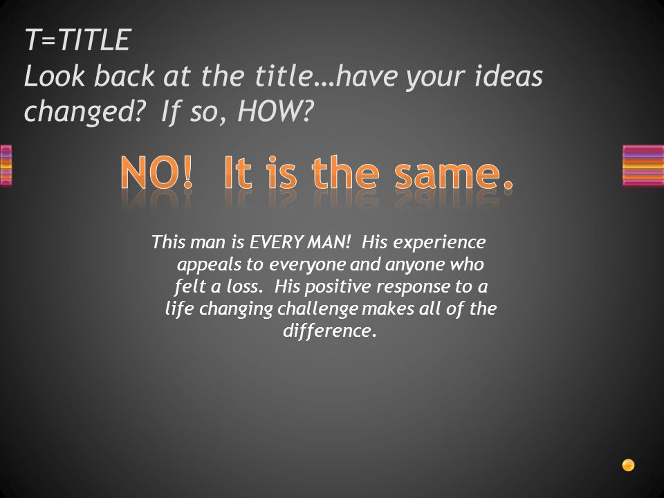 T=TITLE Look back at the title…have your ideas changed.