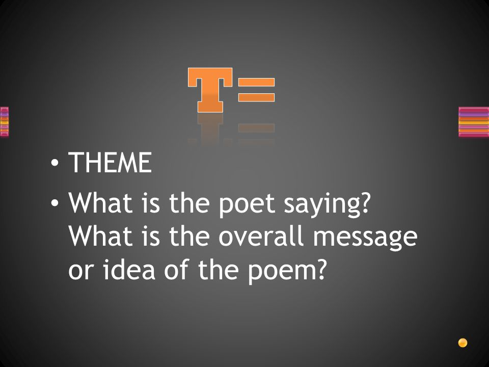 THEME What is the poet saying? What is the overall message or idea of the poem?