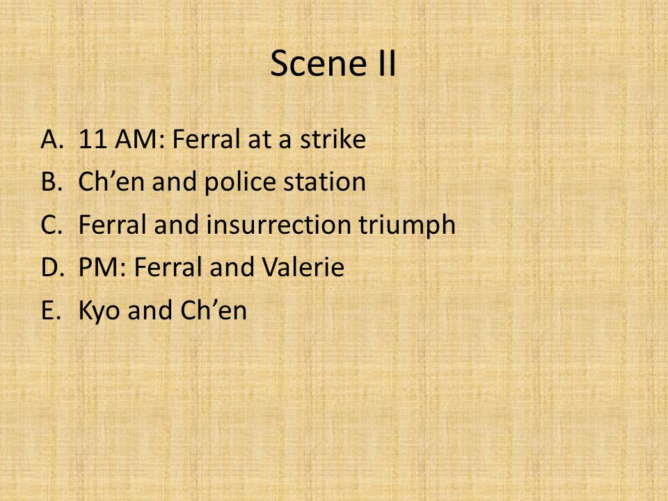 Scene III: Hankow (center of CP strength) A.Kyo and Vologin and Chen a.CP and KMT relations