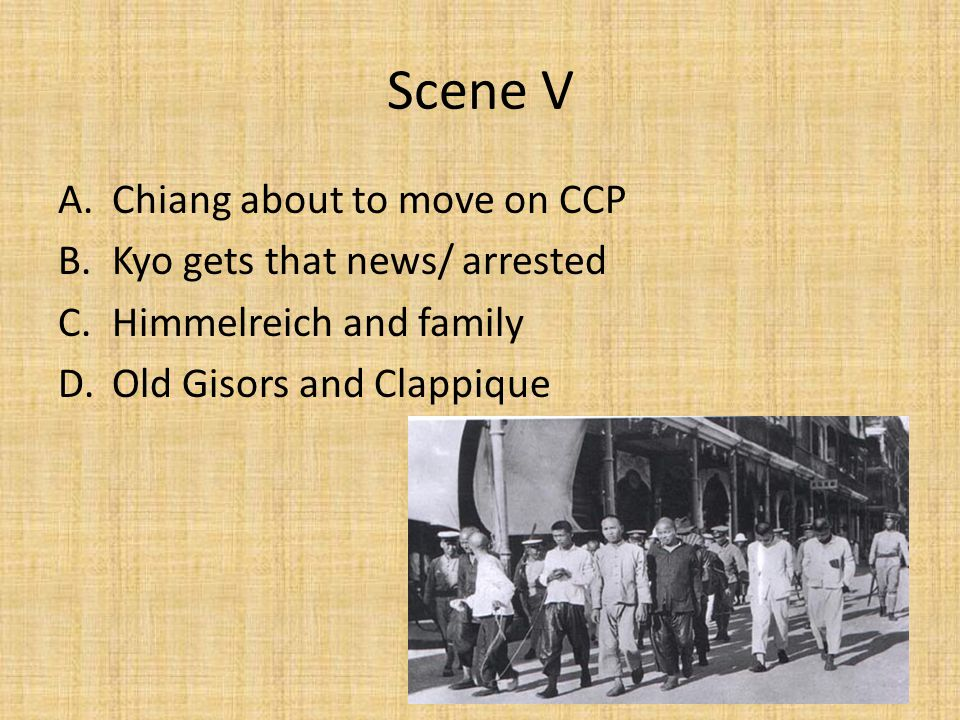 Scene VI A.Kyo in jail B.Clappique and Ferral leave C.Brotherhood of the revolution A.Locomotive scene D.Gisors and May