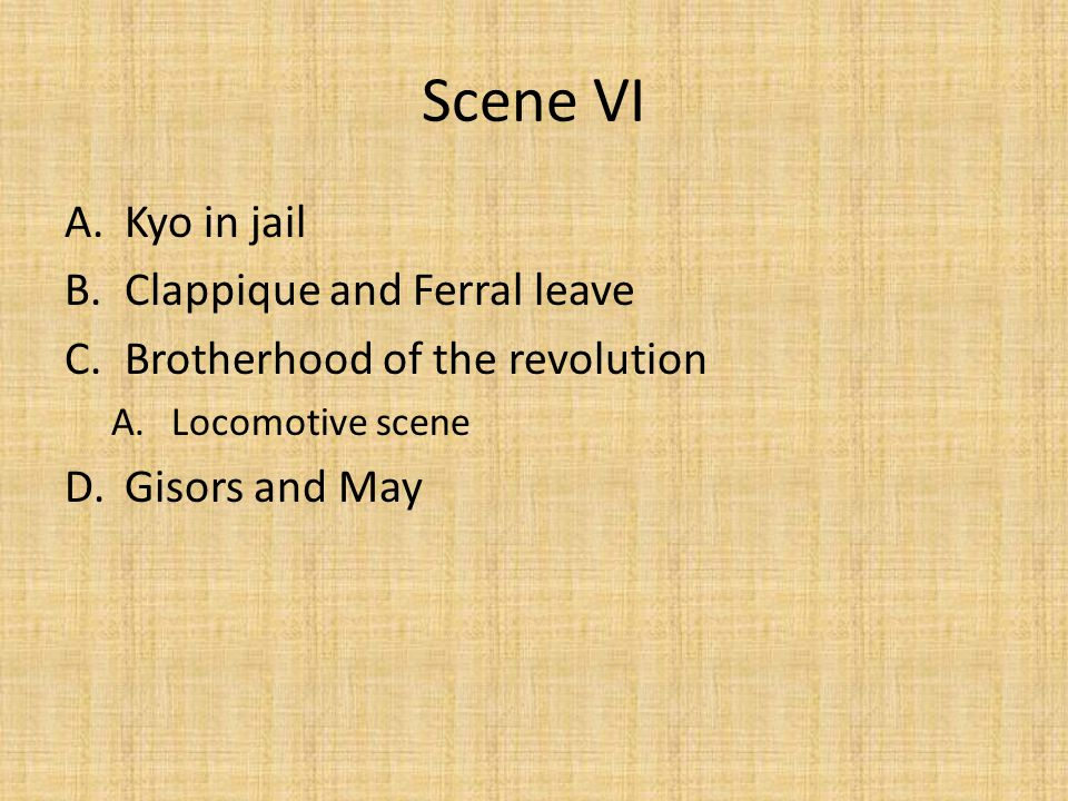 Scene VII A.Ferral in Paris B.Kobe I hardly ever weep any more. What is the role of Part VII?