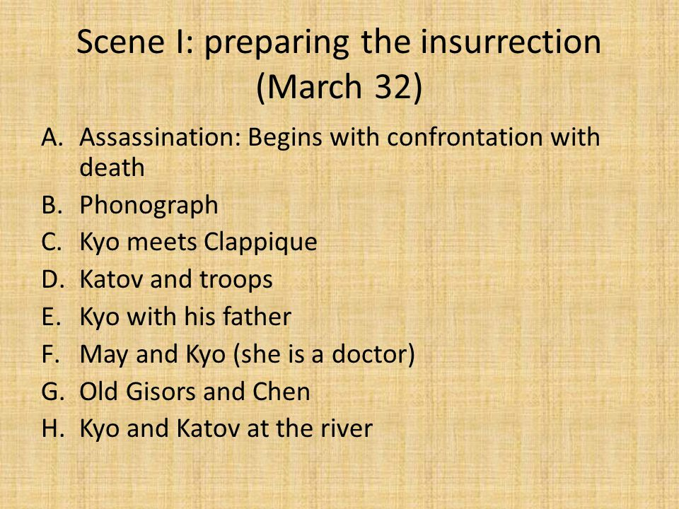 Scene II A.11 AM: Ferral at a strike B.Chen and police station C.Ferral and insurrection triumph D.PM: Ferral and Valerie E.Kyo and Chen