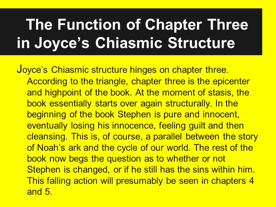 The Function of Chapter Three in Joyces Chiasmic Structure J oyces Chiasmic structure hinges on chapter three.