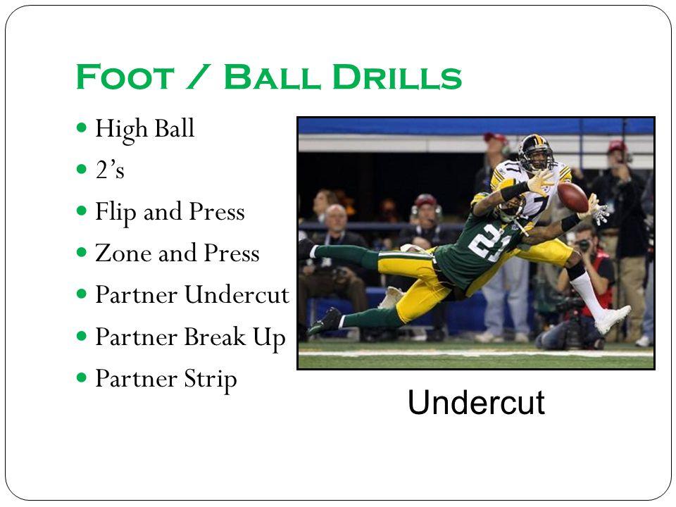 Foot / Ball Drills High Ball 2s Flip and Press Zone and Press Partner Undercut Partner Break Up Partner Strip Undercut