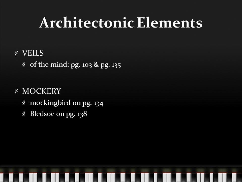 Architectonic Elements VEILS of the mind: pg. 103 & pg. 135 MOCKERY mockingbird on pg. 134 Bledsoe on pg. 138