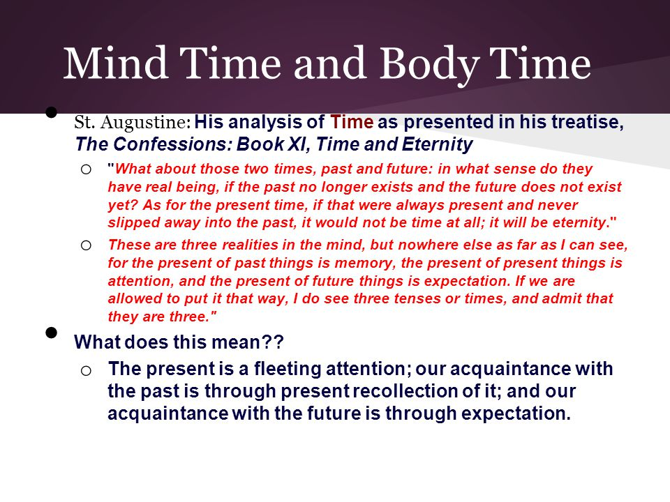 Mind Time and Body Time St.