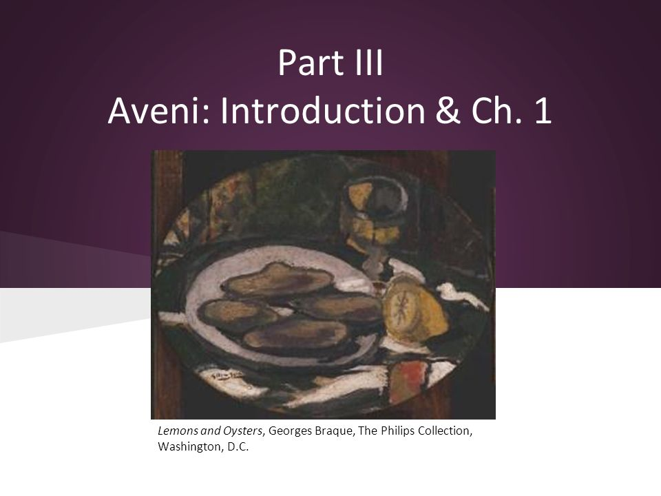 Part III Aveni: Introduction & Ch. 1 Lemons and Oysters, Georges Braque, The Philips Collection, Washington, D.C.