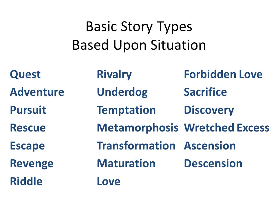 Basic Story Types Based Upon Situation Quest Adventure Pursuit Rescue Escape Revenge Riddle Rivalry Underdog Temptation Metamorphosis Transformation Maturation Love Forbidden Love Sacrifice Discovery Wretched Excess Ascension Descension