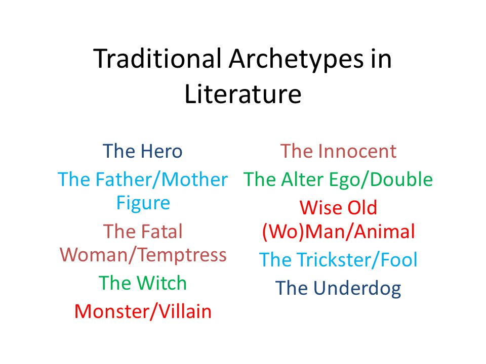 Traditional Archetypes in Literature The Hero The Father/Mother Figure The Fatal Woman/Temptress The Witch Monster/Villain The Innocent The Alter Ego/Double Wise Old (Wo)Man/Animal The Trickster/Fool The Underdog