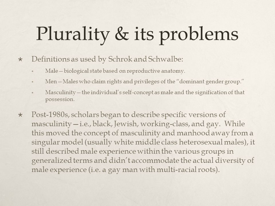 Plurality & its problems Definitions as used by Schrok and Schwalbe: Malebiological state based on reproductive anatomy.