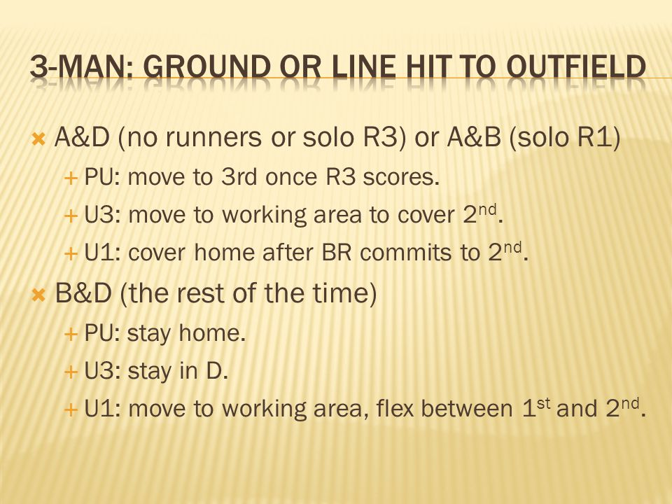 A&D (no runners or solo R3) or A&B (solo R1) PU: move to 3rd once R3 scores.