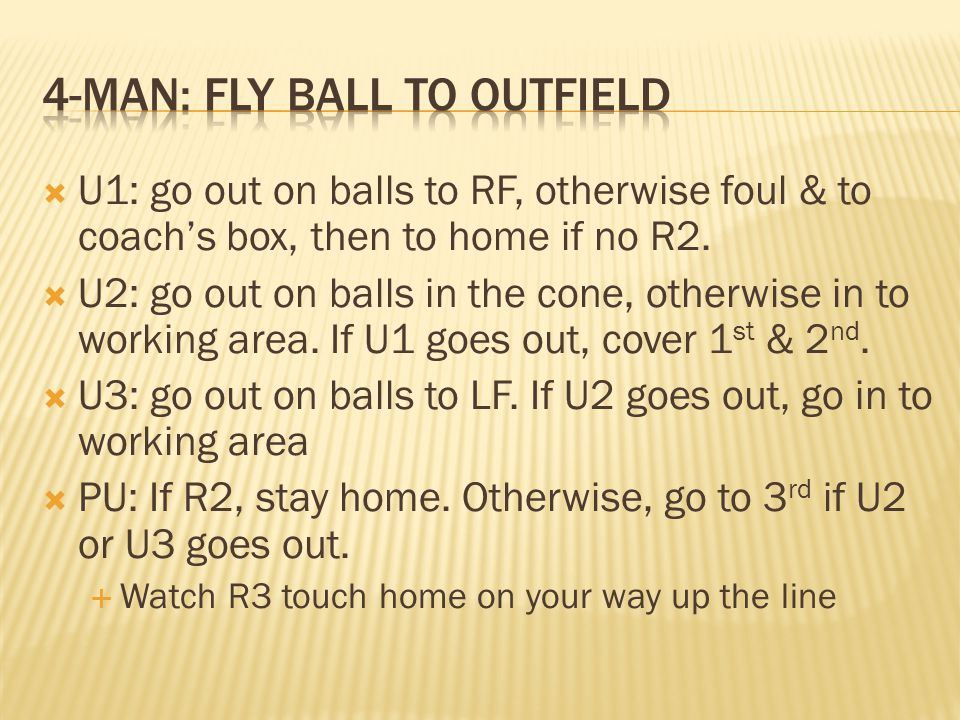 U1: go out on balls to RF, otherwise foul & to coachs box, then to home if no R2.