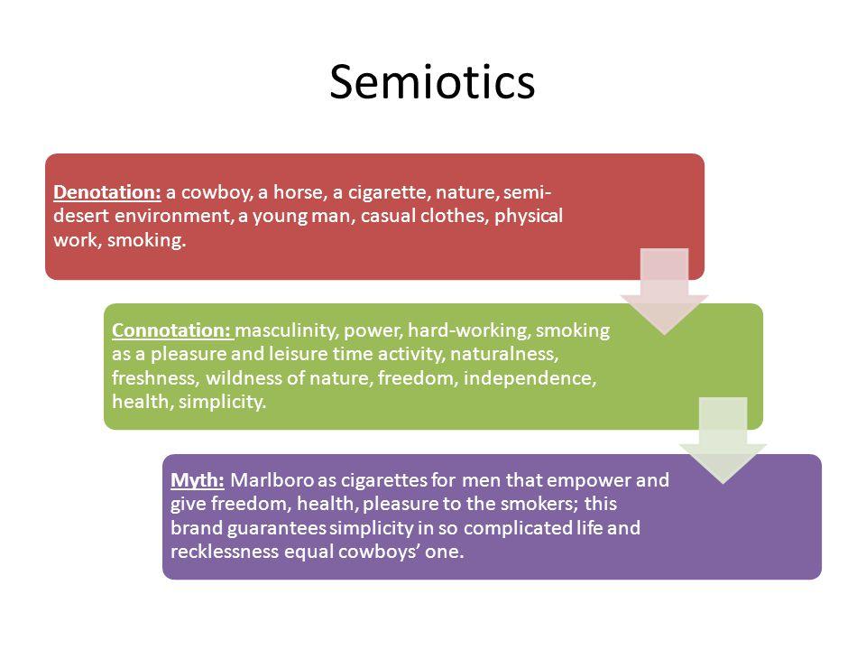 Semiotics Denotation: a cowboy, a horse, a cigarette, nature, semi- desert environment, a young man, casual clothes, physical work, smoking.