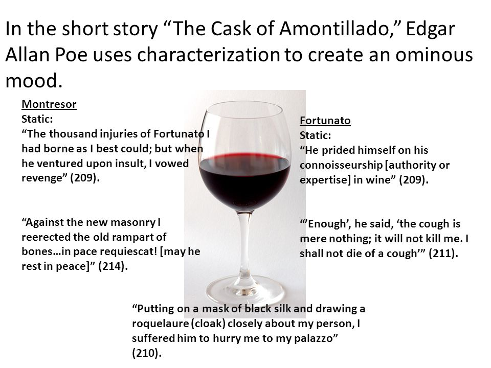 In the short story The Cask of Amontillado, Edgar Allan Poe uses characterization to create an ominous mood.