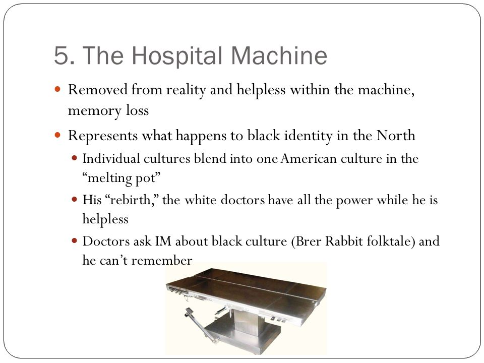 5. The Hospital Machine Removed from reality and helpless within the machine, memory loss Represents what happens to black identity in the North Indiv