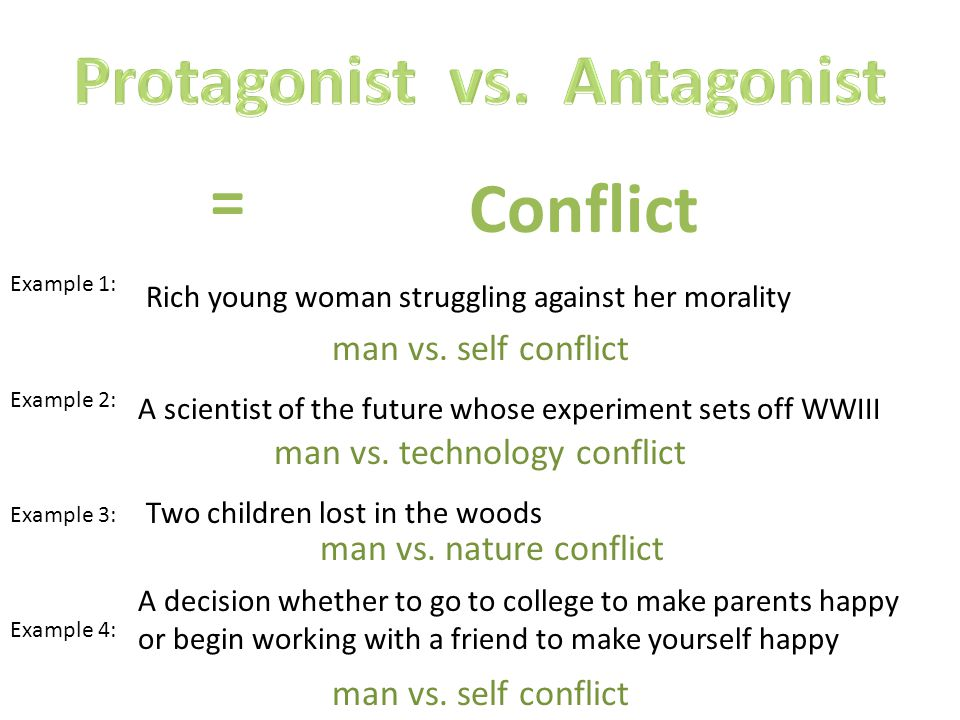 Conflict = Example 1: Example 2: Example 3: Example 4: Rich young woman struggling against her morality man vs.
