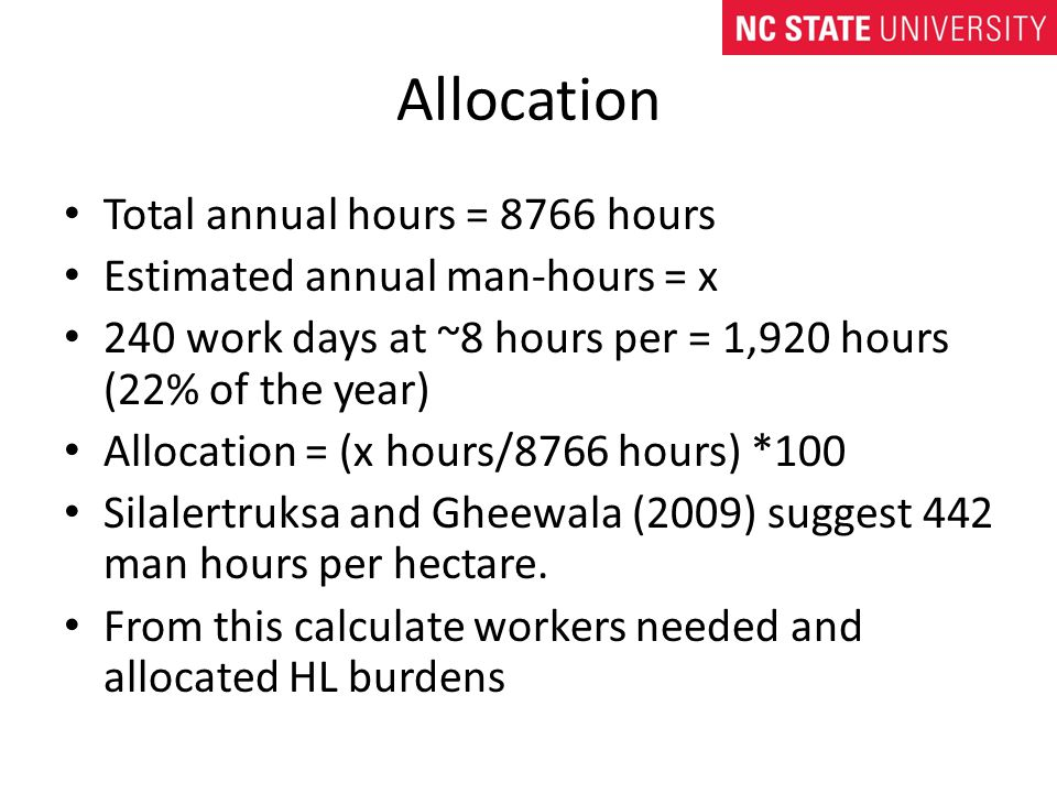 Allocation Total annual hours = 8766 hours Estimated annual man-hours = x 240 work days at ~8 hours per = 1,920 hours (22% of the year) Allocation = (x hours/8766 hours) *100 Silalertruksa and Gheewala (2009) suggest 442 man hours per hectare.