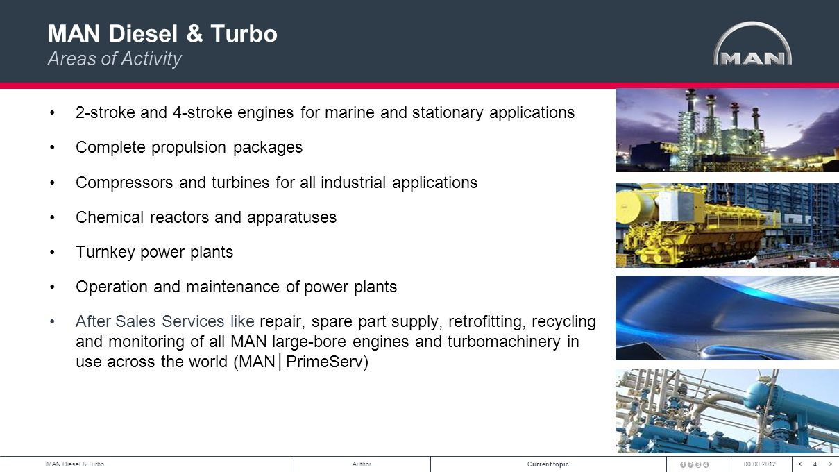 4<>MAN Diesel & TurboAuthorCurrent topic00.00.2012 MAN Diesel & Turbo Areas of Activity 2-stroke and 4-stroke engines for marine and stationary applications Complete propulsion packages Compressors and turbines for all industrial applications Chemical reactors and apparatuses Turnkey power plants Operation and maintenance of power plants After Sales Services like repair, spare part supply, retrofitting, recycling and monitoring of all MAN large-bore engines and turbomachinery in use across the world (MANPrimeServ)