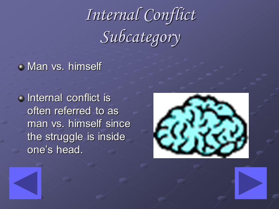 Internal Conflict Subcategory Man vs.himself Internal conflict is often referred to as man vs.