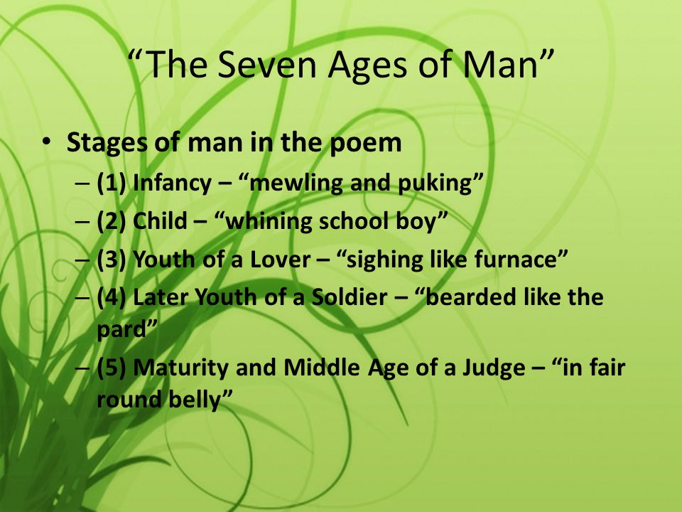 The Seven Ages of Man Stages of man in the poem – (1) Infancy – mewling and puking – (2) Child – whining school boy – (3) Youth of a Lover – sighing l