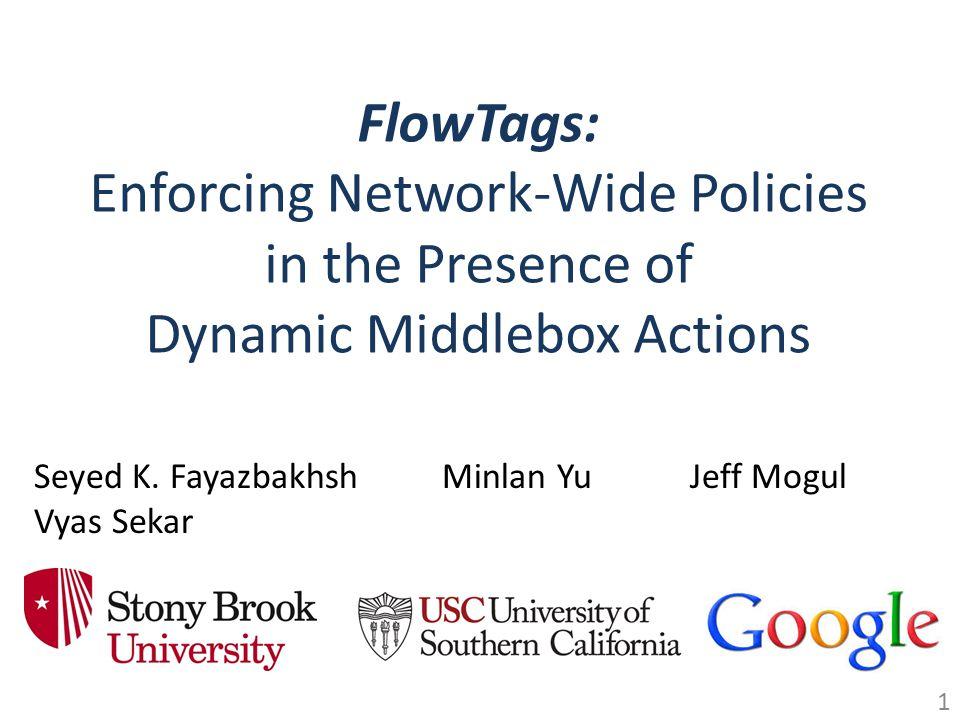 FlowTags: Enforcing Network-Wide Policies in the Presence of Dynamic Middlebox Actions Seyed K. Fayazbakhsh Vyas Sekar Jeff MogulMinlan Yu 1