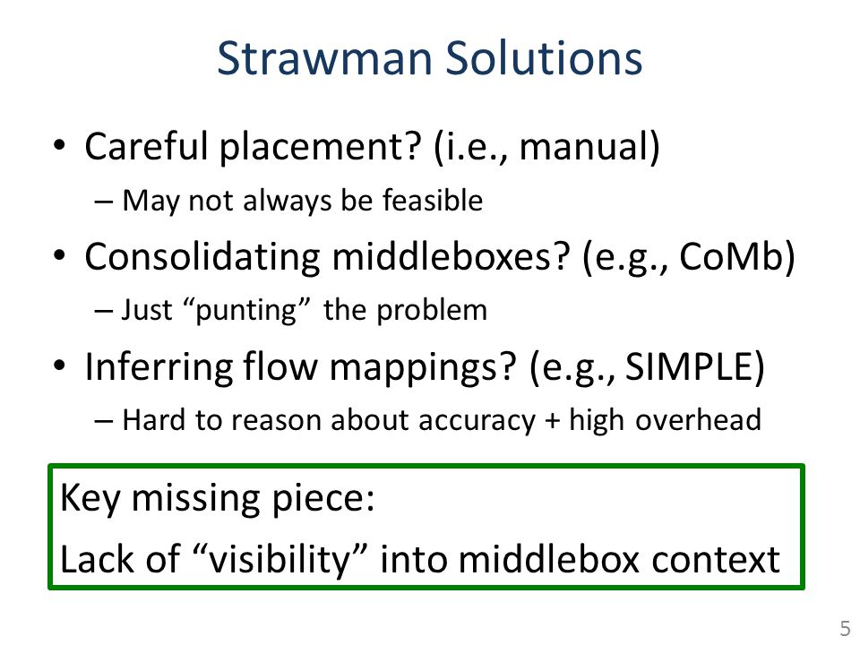 Strawman Solutions Careful placement? (i.e., manual) – May not always be feasible Consolidating middleboxes? (e.g., CoMb) – Just punting the problem I