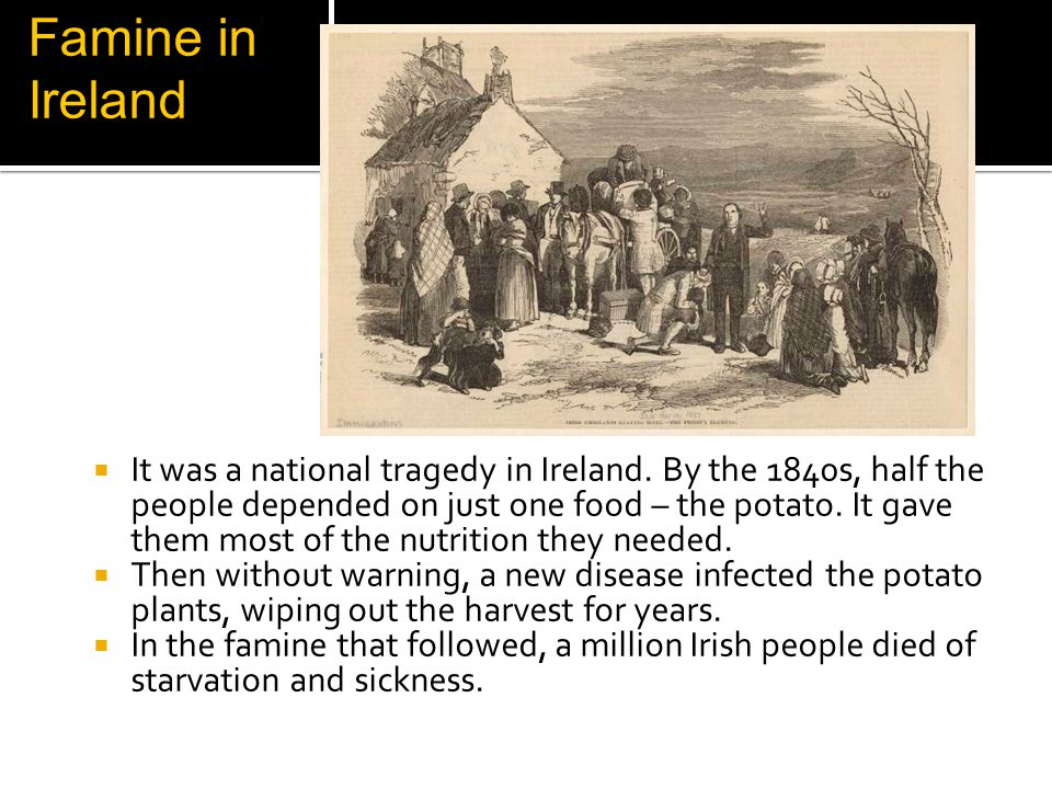 Famine in Ireland It was a national tragedy in Ireland.