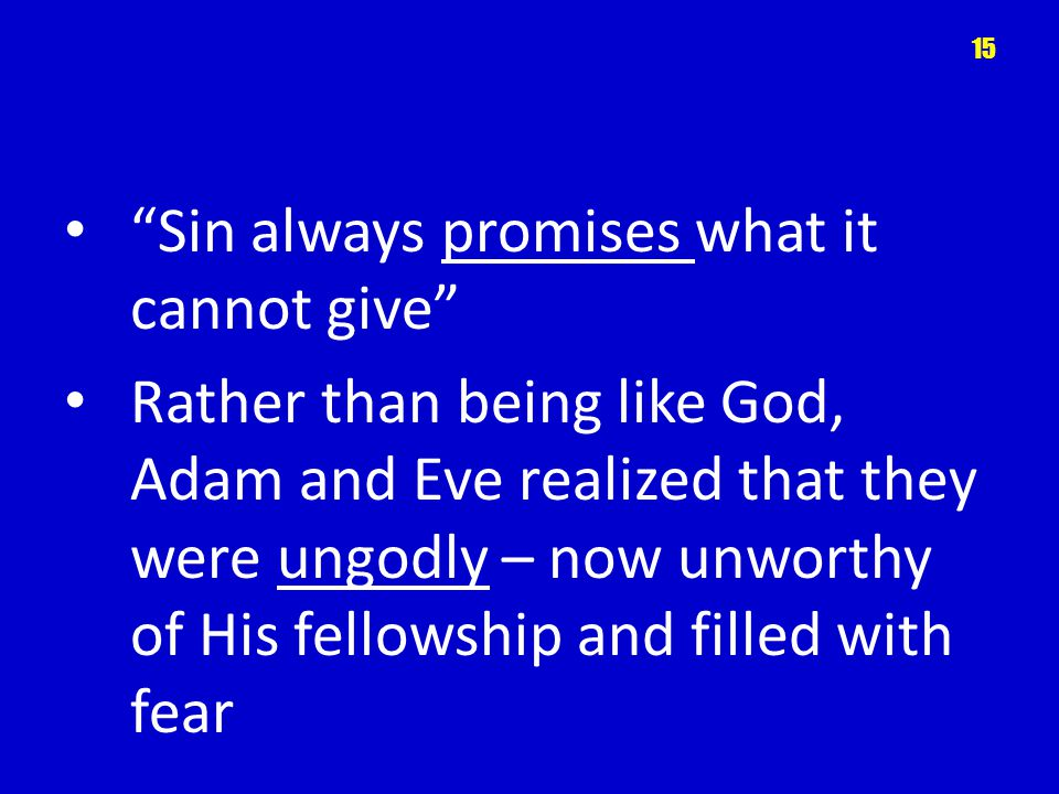 Sin always promises what it cannot give Rather than being like God, Adam and Eve realized that they were ungodly – now unworthy of His fellowship and
