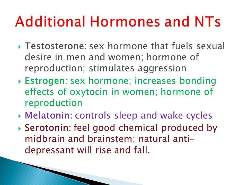 Testosterone: sex hormone that fuels sexual desire in men and women; hormone of reproduction; stimulates aggression Estrogen: sex hormone; increases b