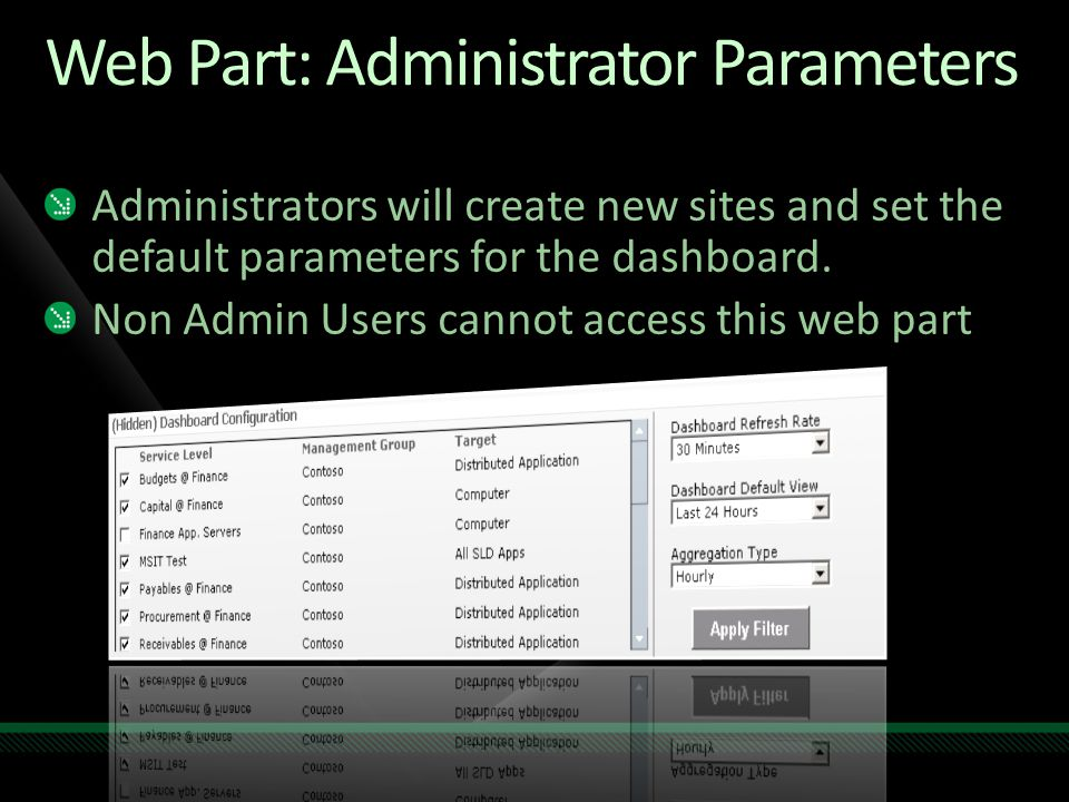 Web Part: Administrator Parameters Administrators will create new sites and set the default parameters for the dashboard.