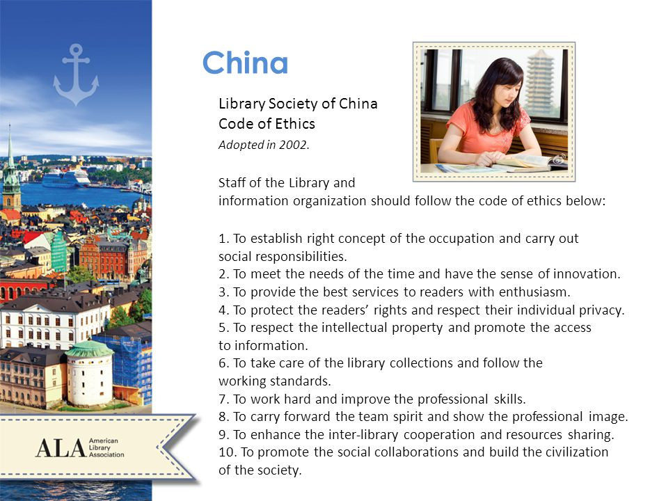 China Library Society of China Code of Ethics Adopted in 2002.