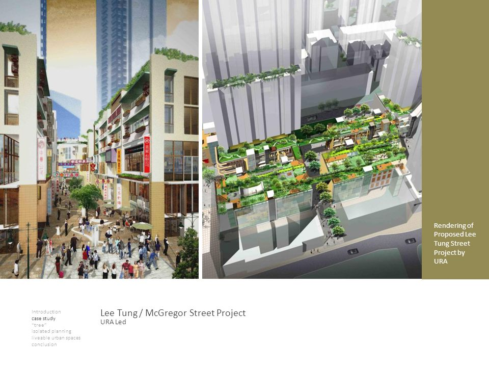 Introduction case study tree isolated planning liveable urban spaces conclusion Lee Tung / McGregor Street Project Rendering of Proposed Lee Tung Street Project by URA URA Led