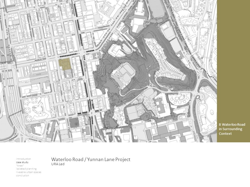 introduction case study tree isolated planning liveable urban spaces conclusion Waterloo Road / Yunnan Lane Project 8 Waterloo Road in Surrounding Con