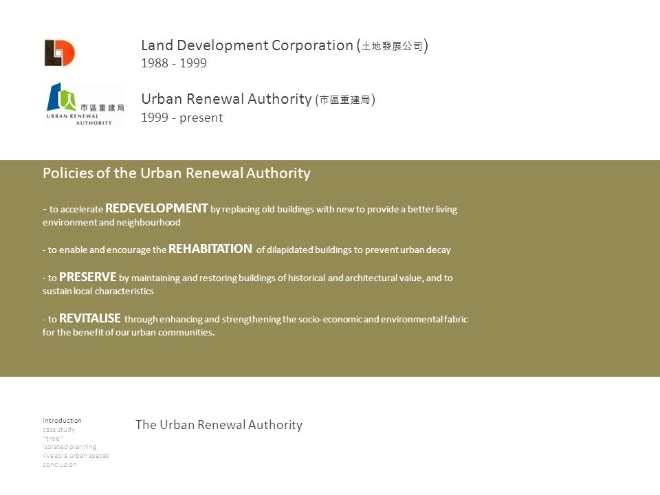 introduction case study tree isolated planning liveable urban spaces conclusion The Urban Renewal Authority Land Development Corporation ( ) 1988 - 19