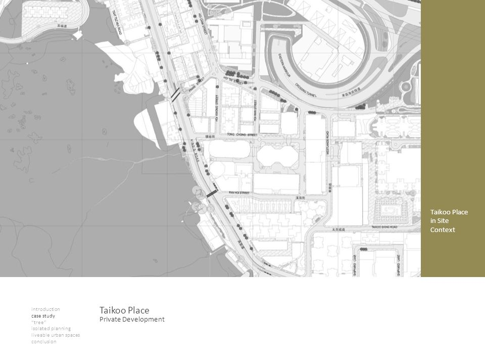 Taikoo Place in Site Context introduction case study tree isolated planning liveable urban spaces conclusion Taikoo Place Private Development