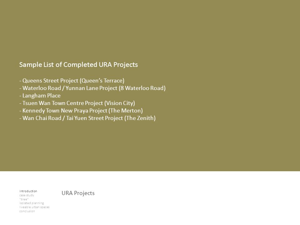 introduction case study tree isolated planning liveable urban spaces conclusion URA Projects Sample List of Completed URA Projects - Queens Street Pro