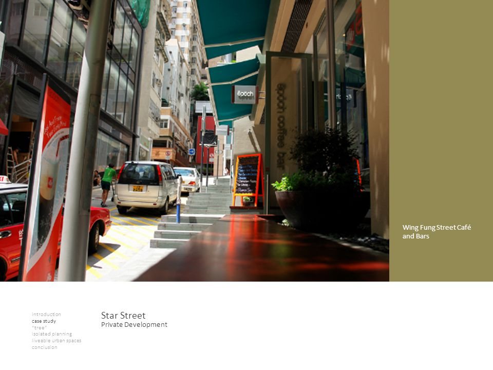 introduction case study tree isolated planning liveable urban spaces conclusion Star Street Private Development Wing Fung Street Café and Bars